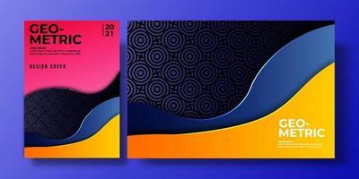 capa de fundo colorido abstrato com gradiente de cor e sombra, padrão geométrico. pode ser usado para plano de fundo, folheto, relatório, capa de livro, cartaz. modelo de pôster amarelo, laranja, azul, escuro, rosa vetor