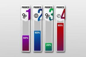 modelo de visualização de dados de negócios com ícone. infográfico gráfico gráfico de barras etapas do elemento de design, opção, processo, linha do tempo. elementos gráficos de cor gradiente para processo, apresentação, layout, banner. vetor