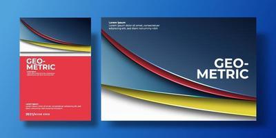 capa de fundo colorido abstrato com gradiente de cor e sombra. pode ser usado para plano de fundo, folheto, relatório anual, capa de livro, identidade, cartaz. modelo de pôster azul, vermelho, amarelo e branco vetor