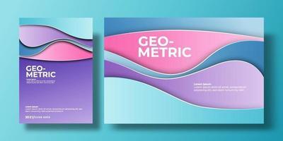 capa de fundo colorido abstrato com gradiente de cor e sombra. pode ser usado para plano de fundo, folheto, relatório anual, capa de livro, identidade, cartaz. modelo de pôster em cor pastel rosa, roxo, azul