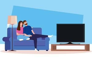 ficar em casa campanha com casal assistindo tv