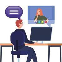 casal participando de uma videoconferência pelo computador