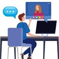 casal em uma videoconferência via computador