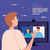 homem em uma videoconferência via computador
