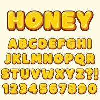 letras do alfabeto com números dos desenhos animados estilo doce mel vetor