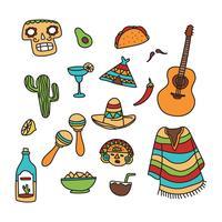 Conjunto De Doodles Mexicanos vetor