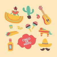 Doodles coloridos sobre o México vetor