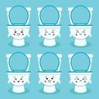 vaso sanitário fofo com várias expressões vetor