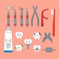 conjunto de ícone de ferramentas odontológicas vetor