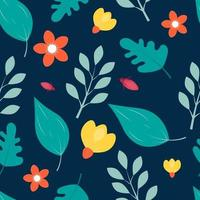 padrão floral sem costura com fundo escuro
