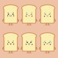 pão fofo com várias expressões vetor