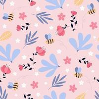 conceito de padrão sem emenda de jardim primavera. abelha bonita e padrão floral.