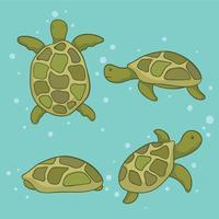 Vetor de tartarugas marinhas de mão desenhada