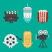 estoque vector conjunto de cinema de personagens fofos