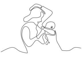 contínua uma única linha desenhada de mulher está amamentando uma criança isolada no fundo branco vetor