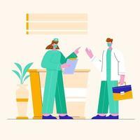 enfermeiras e médicos conversando. ilustração em vetor equipe médica profissional.