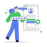 ilustração de pessoas dá feedback sobre o aplicativo. página do site de avaliação do cliente. vetor