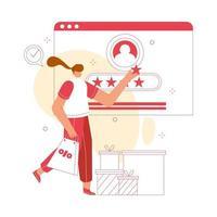mulher dá revisão online. ilustração em vetor conceito cliente. adequado para site, página de destino, aplicativos móveis.