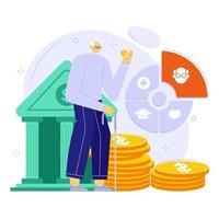 conceito de ilustração vetorial de planejamento financeiro de aposentadoria. investimento e conta de pensão. vetor