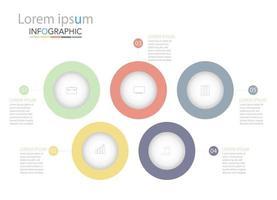 modelo de infográfico de círculo de cronograma mínimo cinco opções ou etapas