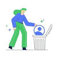ilustração em vetor de excluir uma conta de mídia social. mulheres jogam dados de contas no lixo.