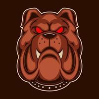 desenho de ilustração vetorial bulldog isolado em fundo escuro vetor