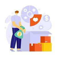 conceito de ilustração de planejamento financeiro de caridade e doação. adequado para aplicativos móveis e web design. vetor
