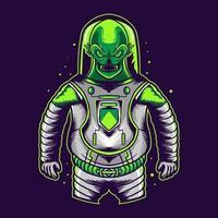 alienígena com fantasia de astronauta isolada em fundo escuro vetor