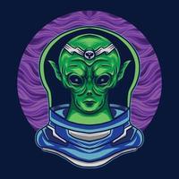 alienígena com fantasia de astronauta na ilustração vetorial espacial vetor