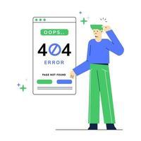 Ilustração em vetor página site erro 404. homem com páginas de erro visualiza o aplicativo móvel