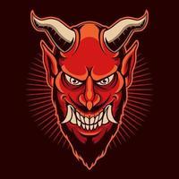 ilustração em vetor diabo vermelho com raiva