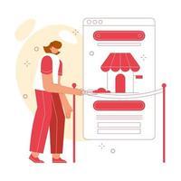 conceito de ilustração vetorial inauguração loja online. interface de usuário do marketplace. adequado para site, página de destino e aplicativos móveis. vetor