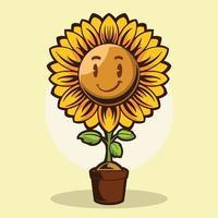 desenho de ilustração vetorial sorriso girassol isolado em fundo amarelo vetor