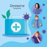 infográfico de campanha de sintomas de coronavírus