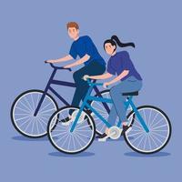 jovem casal andando de bicicleta