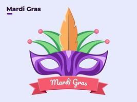 ilustração de estilo simples de máscara facial de mardi gras mascarada com colorido, feliz dia de mardi gras, festival de mardi gras festivo, equipamento de carnaval mardi gras, festival de veneza, domingo gordo, festa. vetor