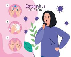 jovem com infográfico cobiçado de 19 sintomas