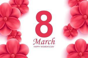 feliz dia da mulher cartão. lindas flores vermelhas com sombra no fundo branco