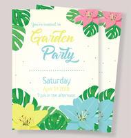 Vetor de cartão de convite para festa de jardim