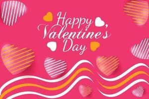 banner feliz dia dos namorados com lindos corações brancos rosa e amarelos vetor