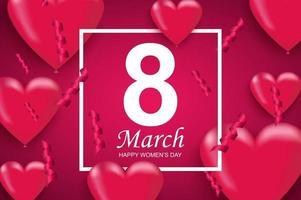 feliz dia da mulher cartão. balões de ar em forma de coração rosa e confetes caindo