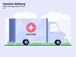 ilustração em estilo simples da aplicação ou distribuição da vacina contra o coronavírus covid-19 com caminhão refrigerado vetor