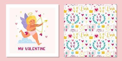 Cupido engraçado com arco, auréola e corações. anjo, querubim, criança, menino. dia de São Valentim. padrão sem emenda, textura. design de cartão. vetor