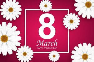 feliz dia da mulher cartão. flores de camomila branca e texto no quadro. vetor