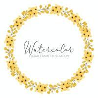 moldura de círculo de flores em aquarela de flores silvestres amarelas vetor