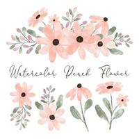 Elemento de arranjo de flores de pêssego aquarela fofa