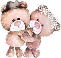 ilustração desenhada à mão em aquarela de ursinho de pelúcia