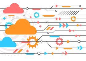 Vetor de conceito de tecnologia de nuvem