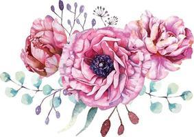 elegante composição de flores em aquarela vetor
