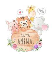 desenhos animados animais amizade com ilustração de placa de madeira vetor